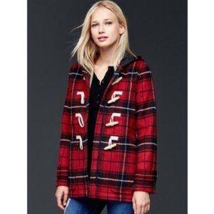NWOT Gap Wool Red Tartan duffle coat toggles hood